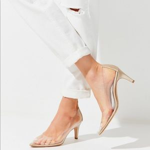 Urban Outfitters UO Clear Gold Pump Heels Shoes